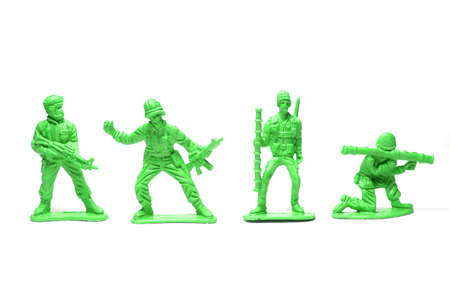 object on white - plastic toy soldiers close up Stock Photo - 10265425