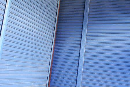 blue metal roller shutter door           photo