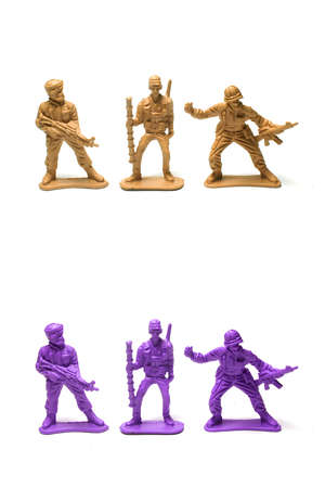 object on white - plastic toy soldiers close up Stock Photo - 10277472