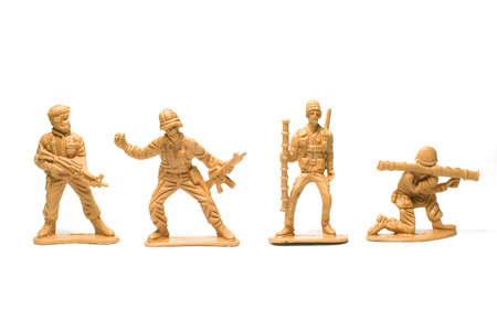 object on white - plastic toy soldiers close up Stock Photo - 10277462
