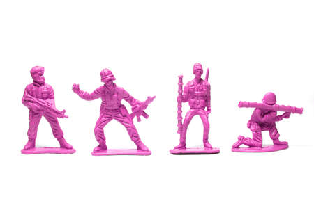 object on white - plastic toy soldiers close up