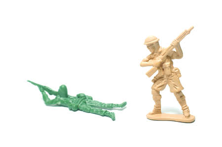 object on white - plastic toy soldiers close up Stock Photo - 10277458
