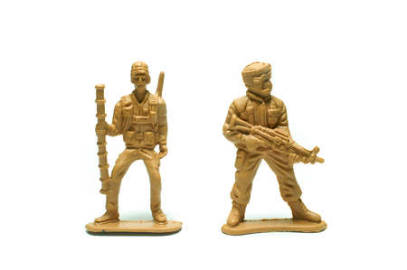 object on white - plastic toy soldiers close up Stock Photo - 10277466