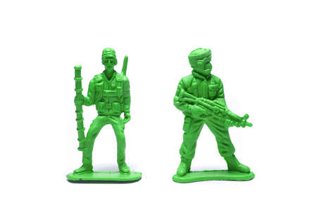 object on white - plastic toy soldiers close up Stock Photo - 10277467