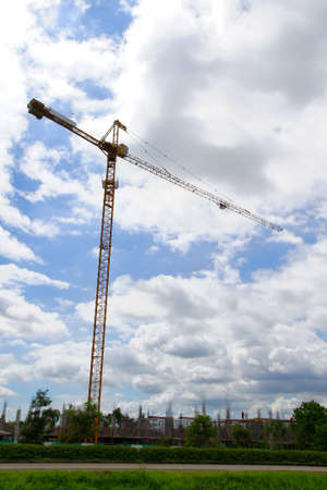 Yellow crane at the blue sky                 photo