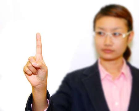 Business woman pushing Stock Photo - 10869432