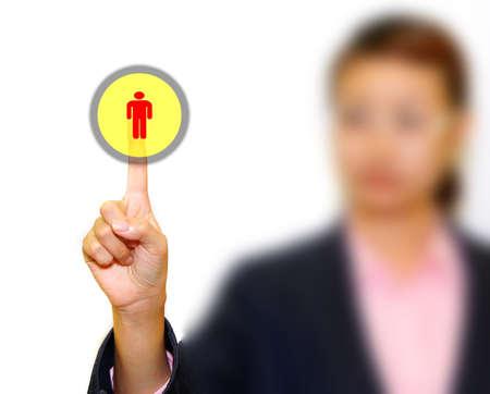 Business woman pushing             photo