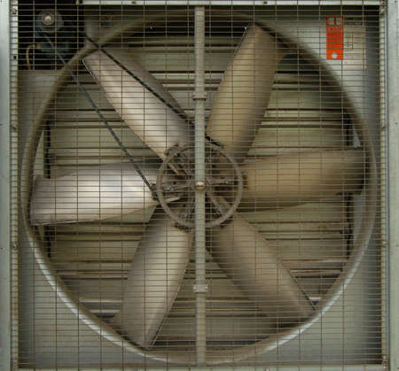 A turbine behind silver bars photo