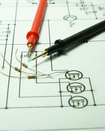 Checking Circuit by Multi-Meter. Electrical Engineer on during checking circuit board unit by Multi-Merer.                 Stock Photo