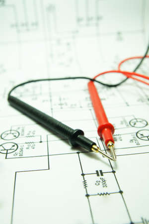 Checking Circuit by Multi-Meter. Electrical Engineer on during checking circuit board unit by Multi-Merer.