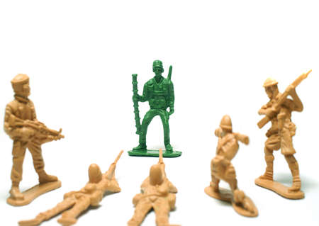object on white - plastic toy soldiers close up Stock Photo - 11804613