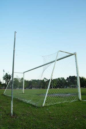 goalline: Old soccer goal                Editorial