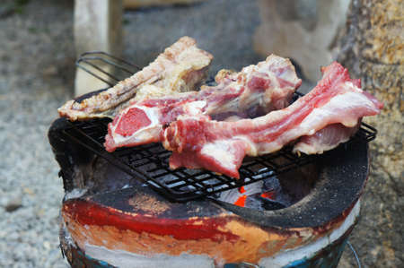 BBQ ribs grilled meat smoke fog barbecue food                       photo