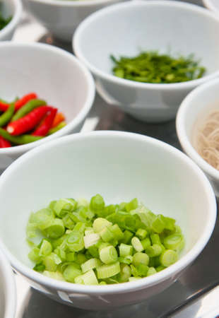asian hot and spicy food ingredient with onions in bowl photo