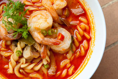 Spaghetti tom-yum seafood closeup Stock Photo - 12871759