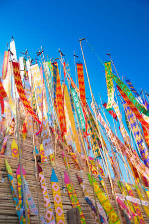 Many Color paper flag in temple of Thailand,For Buddha worship Stock Photo - 13259842