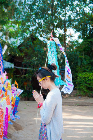 Many Color paper flag in temple of Thailand,For Buddha worship Stock Photo - 13259839
