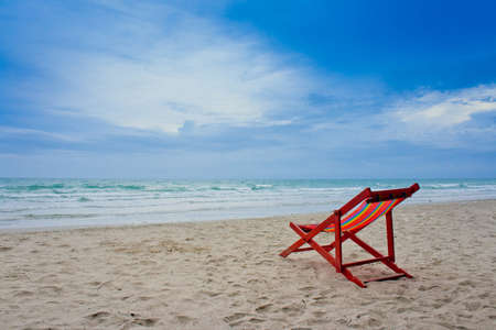 strandstoel: strandstoel op het strand