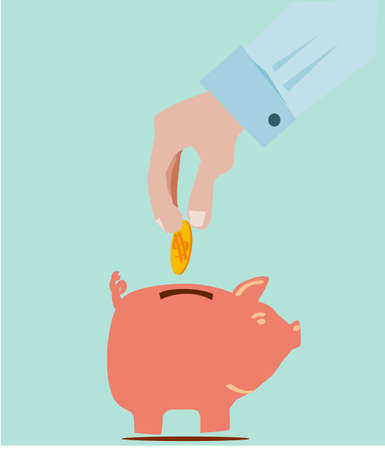 hand save the falling money stock  Vector