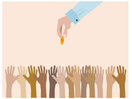 hand save the falling money stock  Illustration