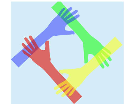 hands connecting Vector