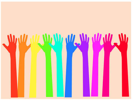 colorful up hand  concept of democracy