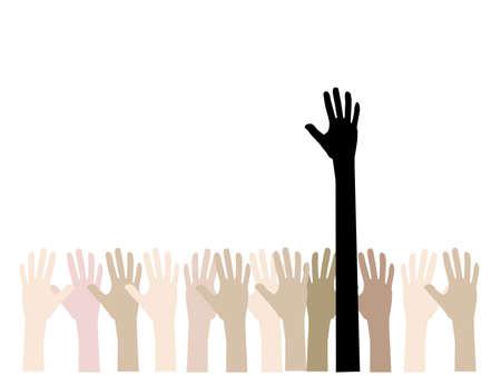 bras lev�: color� concept de main vers le haut de la d�mocratie