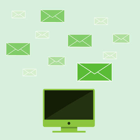 computer with email icon Stock Vector - 21012373