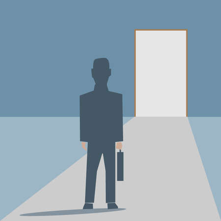 lucky man: man walking into a bright side Illustration