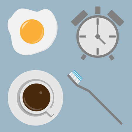 Morning concept  Toothbrush,Coffee,A larm clock,Fried egg  Vector