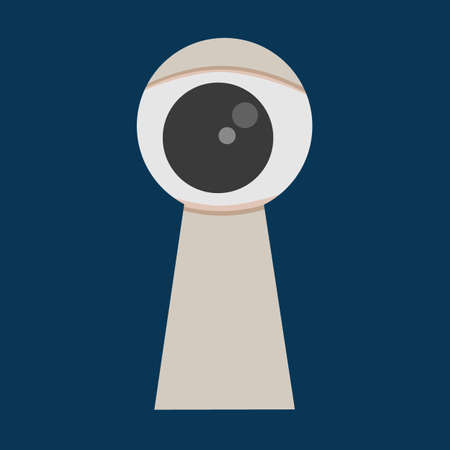 Peeping Eye in the keyhole Vector