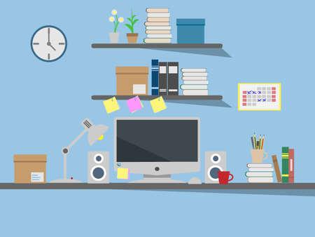 desk lamp: computer on desk Illustration