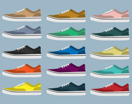 Side view of sneakers in different colors Vector