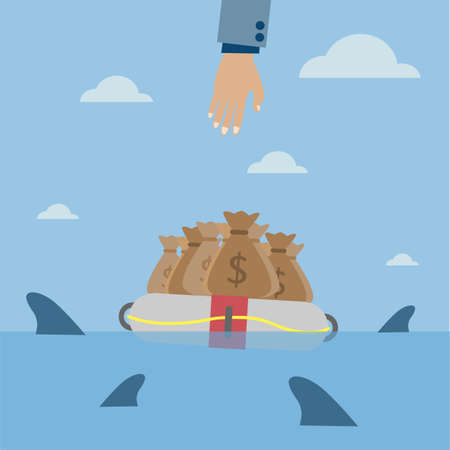 money bag surrounded by sharks Vector