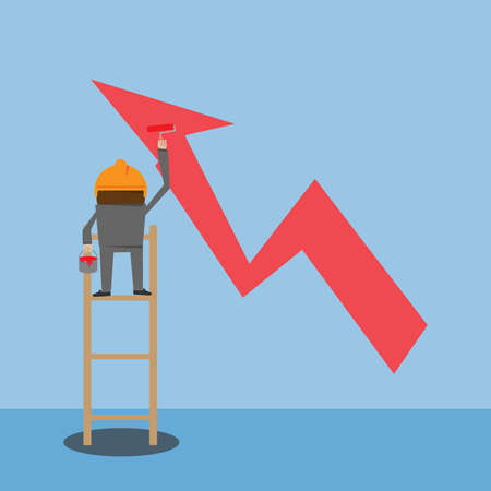 businessman painting growing graph Vector