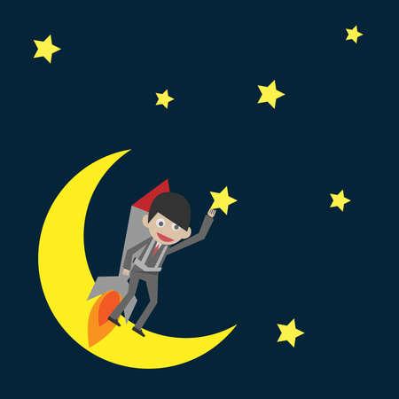 businessman flying Illustration