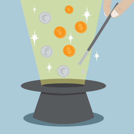 Magic Hat Coin Trick Vector Vector
