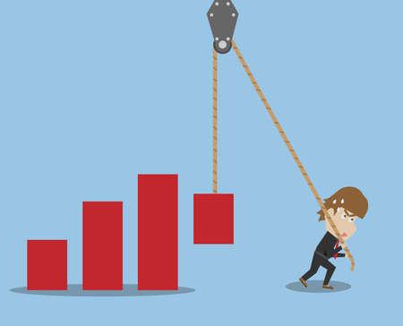 Businessman And Graph Illustration