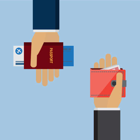 citizenship: hand holding passport and Air travel concept Illustration