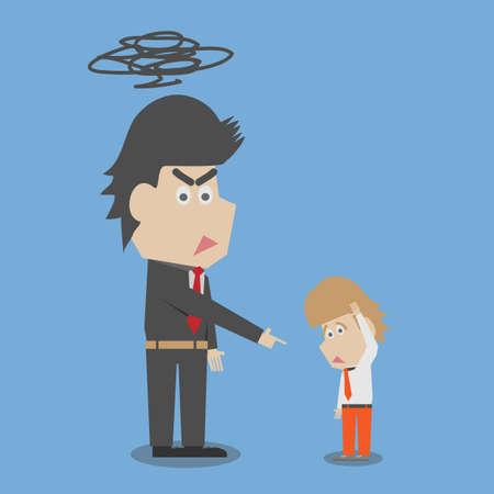 mobbing: Boss shouting at an employee Illustration