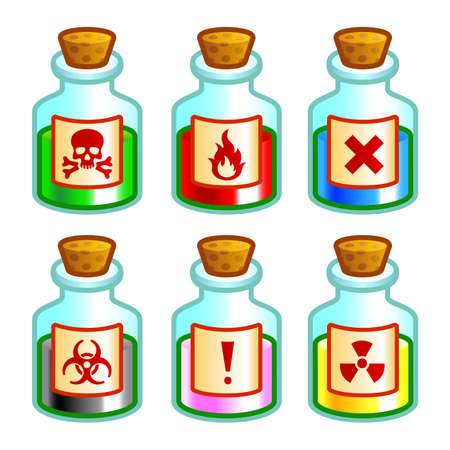 poison bottle: Dangerous liquids
