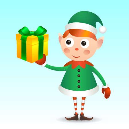Elf with giftbox Illustration