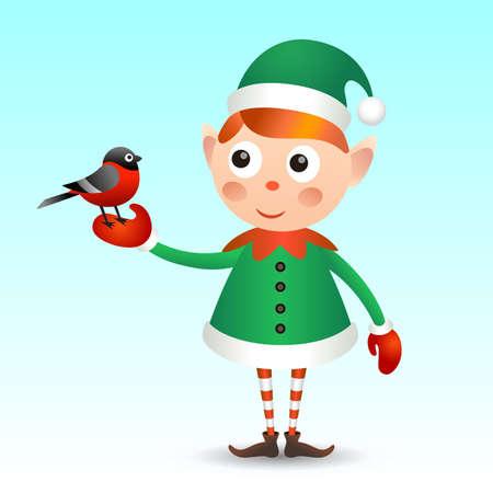 bullfinch: Elf with bullfinch