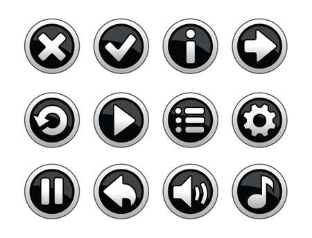 Black and white buttons for game Illustration