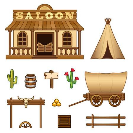 Wild-West-Vermögenswerte Illustration