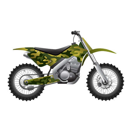 vehicle combat: Camouflage Motorcycle Illustration