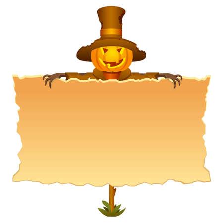 Halloween invitation with scarecrow