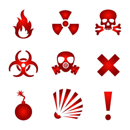 gas mask warning sign: Red warning icons