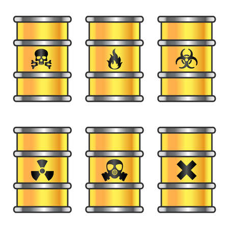 Yellow metallic barrels with warning signs Vector