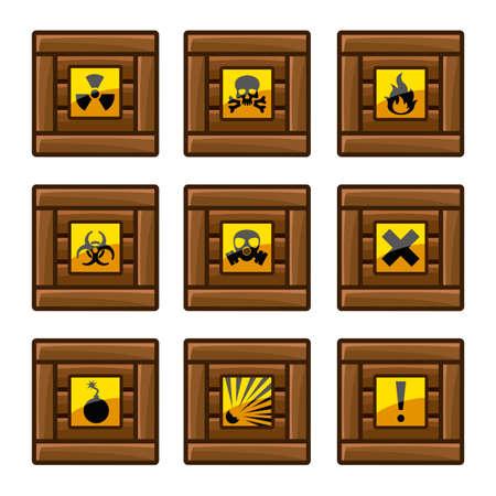panneaux danger: Caisses en bois avec des signes de danger